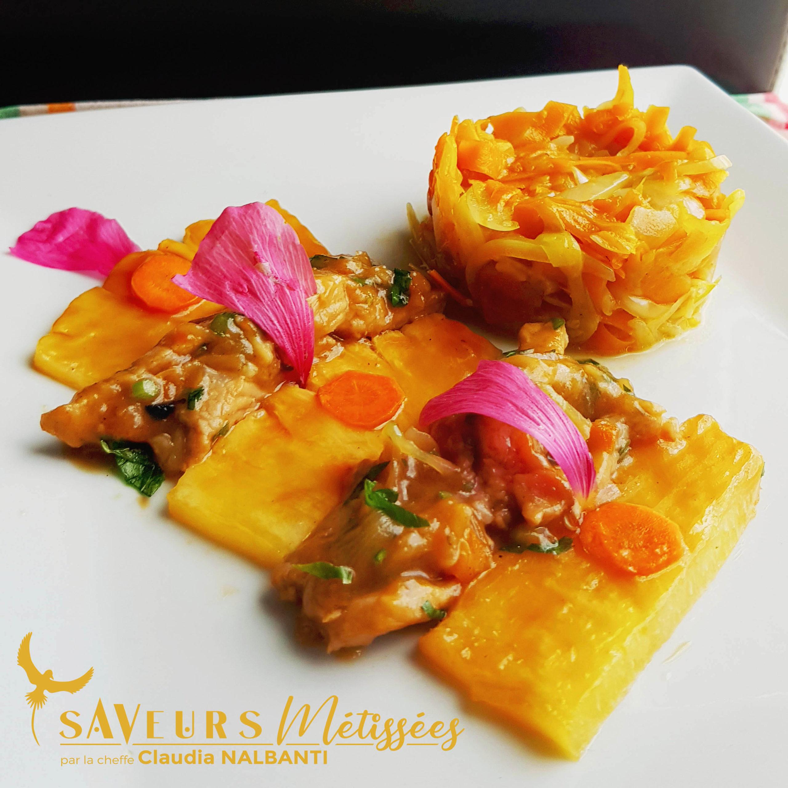 Émincé de porc à l'ananas, et ses légumes du soleil
